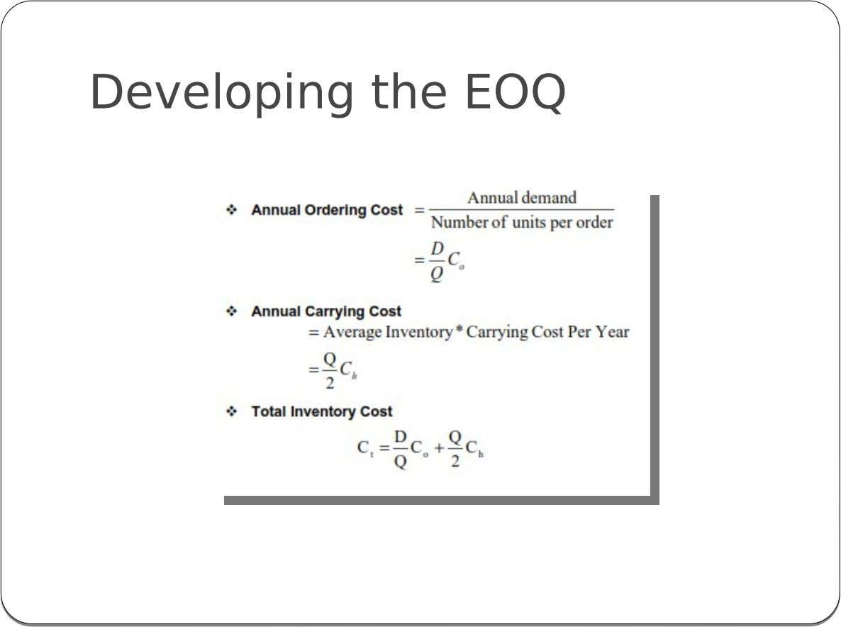 Developing the EOQ