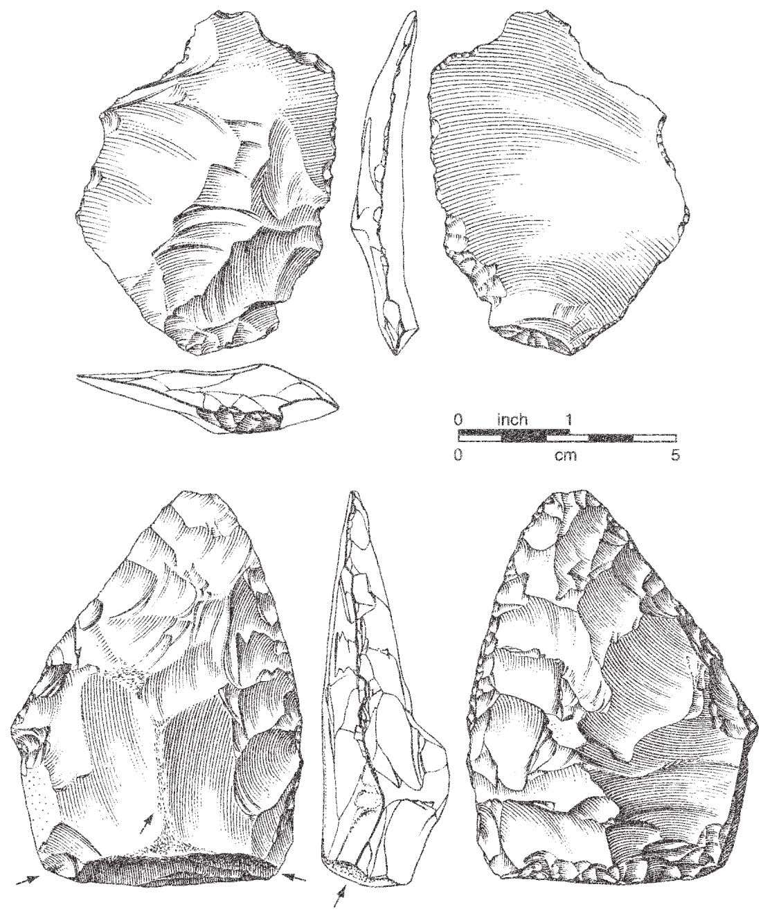 Figure 6.2 Grotte XVI, couche C. Biface thinning flake J11-597 and biface K17-855. Arrows indicate