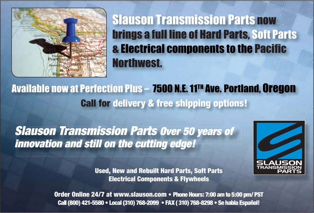 SLAUSON TRANSMISSION Used, New and Rebuilt Hard Parts, Soft Parts Electrical Components & Flywheels PARTS