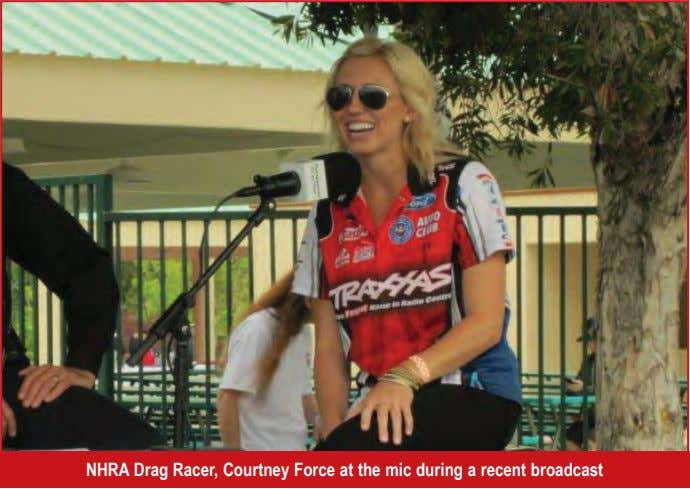 NHRA Drag Racer, Courtney Force at the mic during a recent broadcast