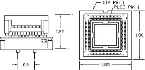 in socket HS538ESG01H LCC only Adapter Dimensions PA-H8/532-84 PA-H8/532-84Z Logical Systems Corporation PO