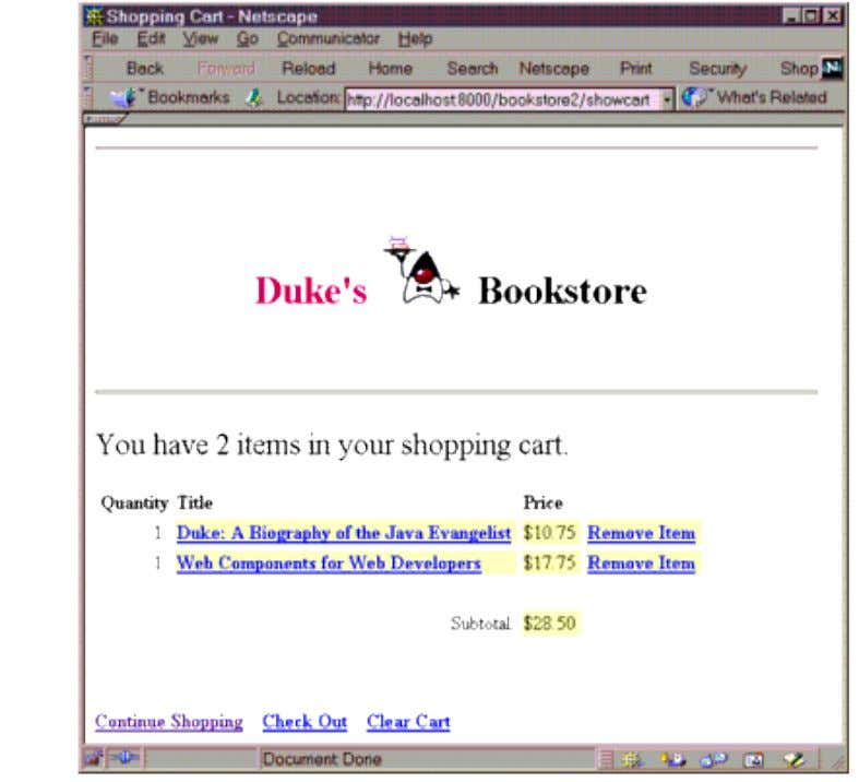 Figure 11-2 Duke's Bookstore Shopping Cart Expressions are then used to insert the value of num
