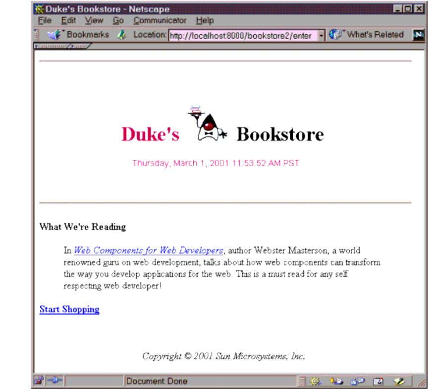 Figure 11-3 Duke's Bookstore with Applet Extending the JSP Language You can perform a wide variety
