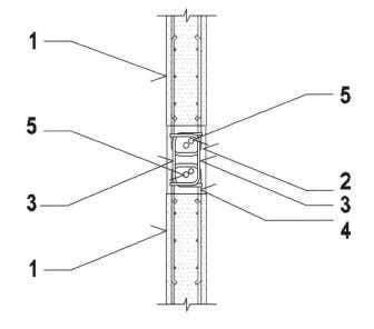 Details between Internal Load-Bearing Wall Elements Fig. 2.8 – Detail E 1. 2. In-situ concrete joint