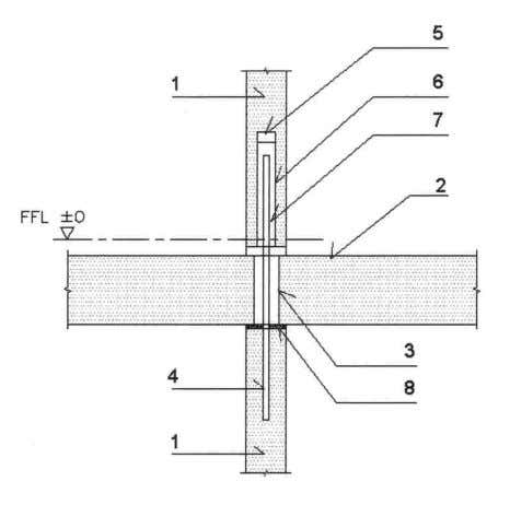 2 40 2.2.3 Non Load-Bearing Wall to Floor Connections Fig. 2.16 – Internal partition PC wall