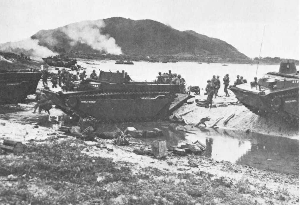 Amtracs unload elements of the 2d and 3d Battalions, 8th Marines on Iheya Shima. The