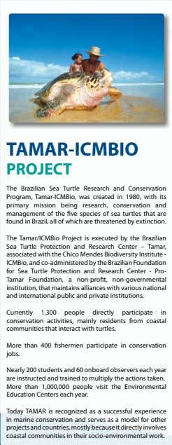 TAMAR-ICMBIO PROJECT The Brazilian Sea Turtle Research and Conservation Program, Tamar-ICMBio, was created in 1980,