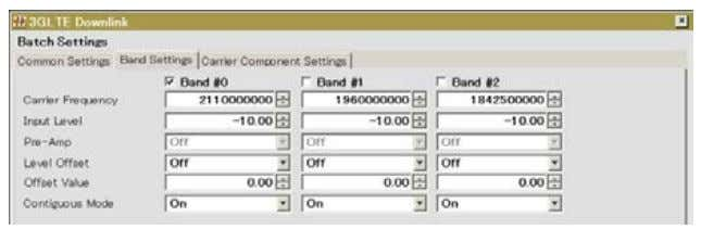 component carrier before measurement. Band Setting Parameter Figure 29 : Band setting - measurement software
