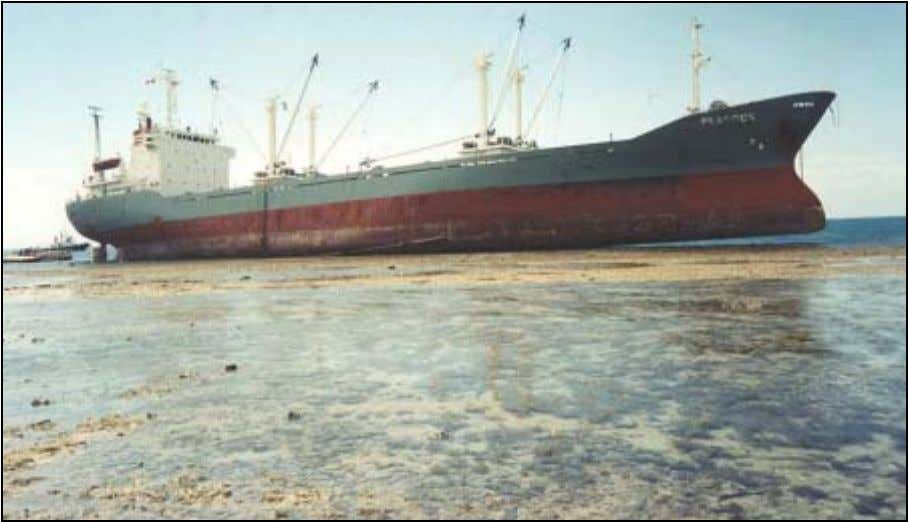 significant pollution with the Brisbane River in 1998. Photo 1: MV Peacock aground on Piper Reef