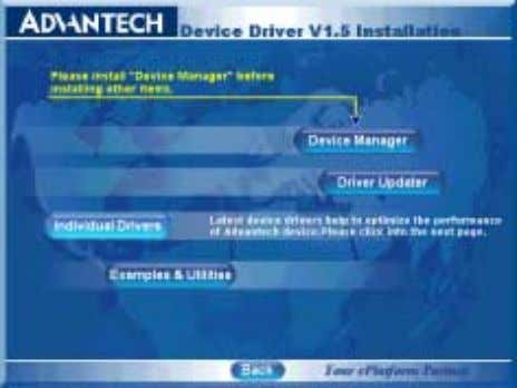 Run command to execute SETUP.EXE on the companion CD-ROM. Fig. 2-1 The Setup Screen of Advantech