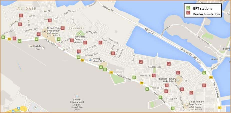 Map 15 BRT system and feeder buses stations in north muharraq. Map 16 BRT stations