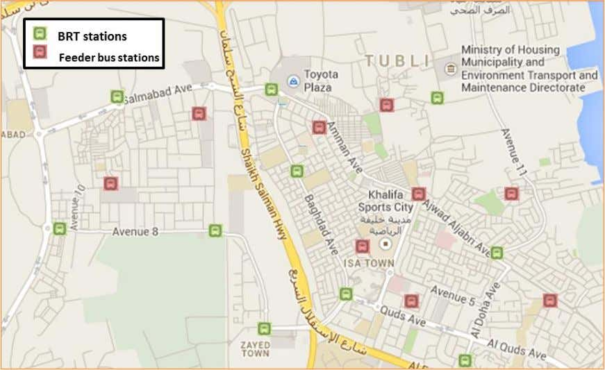 Map 21 BRT stations and feeder buses stations in Budaiya Hwy. Map 22 BRT stations and