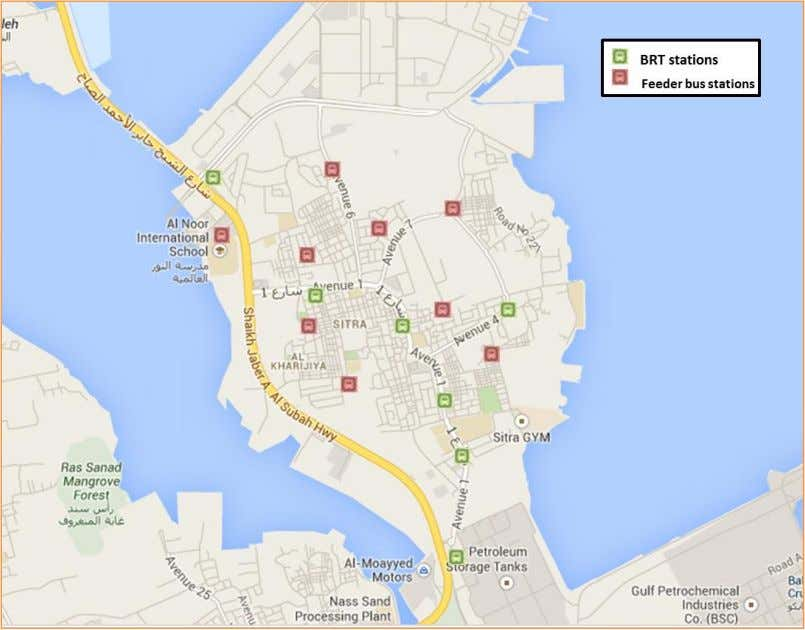 Map 23 BRT stations and feeder buses stations in Sitra.