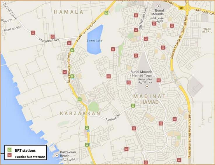 Map 26 BRT stations and feeder buses stations in Hamad town.