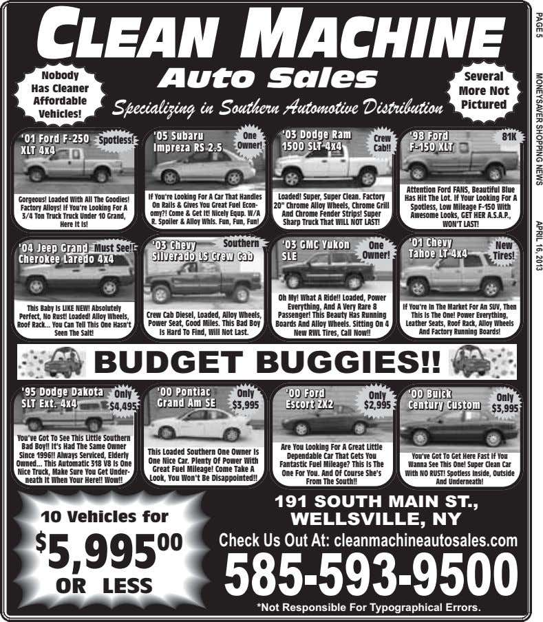 CLEAN MACHINE Nobody Auto Sales Several Has Cleaner More Not Affordable Specializing in Southern Automotive