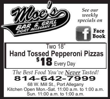 "See our weekly specials on FaceFace BookBook Two 18"" Hand Tossed Pepperoni Pizzas $ 18"