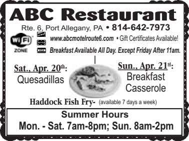 ABC Restaurant Rte. 6, Port Allegany, PA • 814-642-7973 s r r TM www.abcmotelroute6.com •