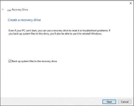 files to the recovery drive is selected and click Next . 4.Plug in the USB drive