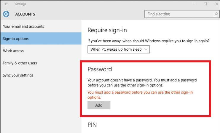 1.Select the Start button, then select Settings > Accounts > Sign-in options to set up Windows