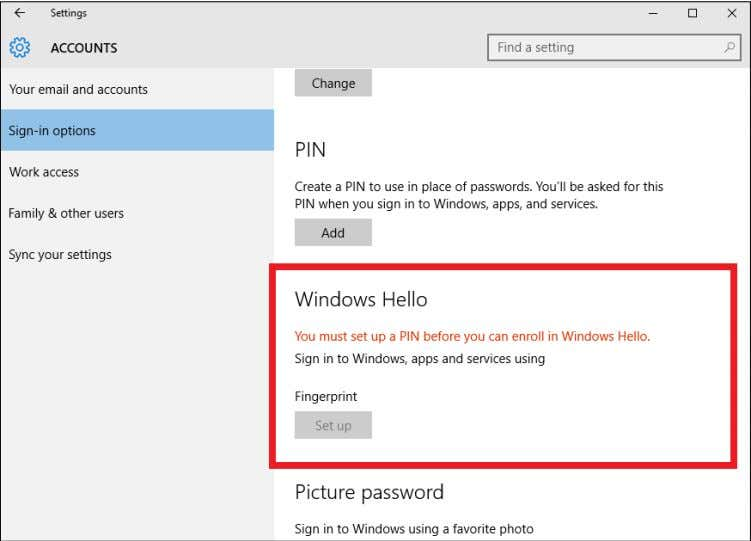 36 - Fingerprint Reader 2.Set a PIN code. 3.In Windows Hello, select Set up to configure