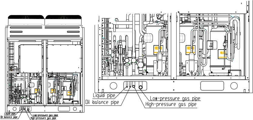 Connection of Indoor and Outdoor Unit C. Three-dimensional Diagram of valves Cut-off valve for equalized oil