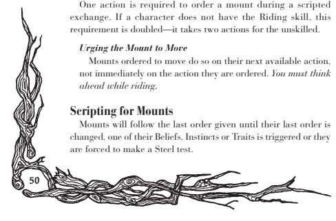 One action is required to order a mount during a scripted exchange. If a character