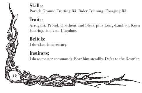 Skills: Parade Ground Trotting B3, Rider Training, Foraging B3 Traits: Arrogant, Proud, Obedient and Sleek
