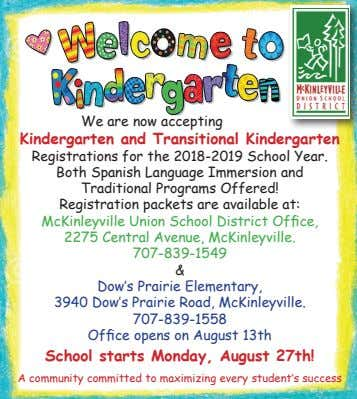 We are now accepting Kindergarten and Transitional Kindergarten Registrations for the 2018-2019 School Year. Both