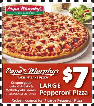 $ 7 Coupon good LARGE only at Arcata & McKinleyville stores. Pepperoni Pizza Expires Aug