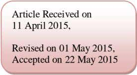Article Received on 11 April 2015, Revised on 01 May 2015, Accepted on 22 May