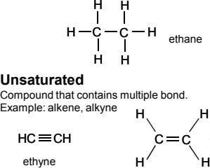 HH HH HH CC CC HH ethane HH HH Unsaturated Compound that contains multiple bond.