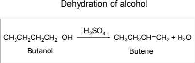 Dehydration of alcohol H 2 SO 4 CH 3 CH 2 CH 2 CH 2