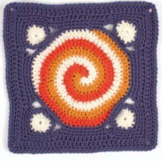 "Circles Around Julie Yeager FINISHED SIZE 12"" by 12"". YARN Washable worsted-weight yarn; ( red"