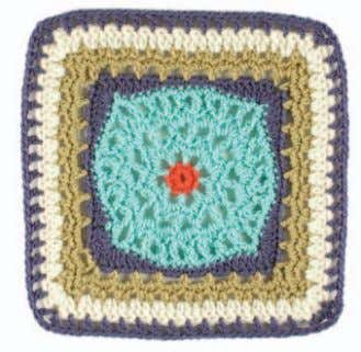 of inner square, ch 6, sc in the next corner of wide rect- Lace Square Julie