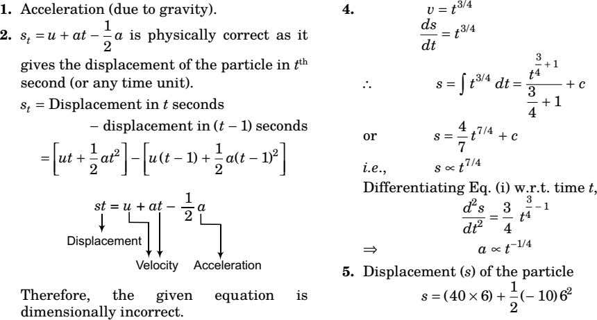 1. Acceleration (due to gravity). 4. v = t 3/4 ds t 3/4 2. s