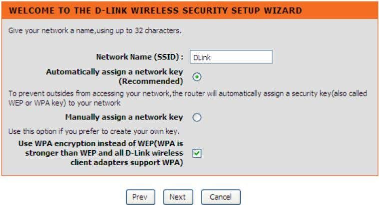 WEP and all D-Link wireless client adapters support WPA. Click Prev to go back to previous