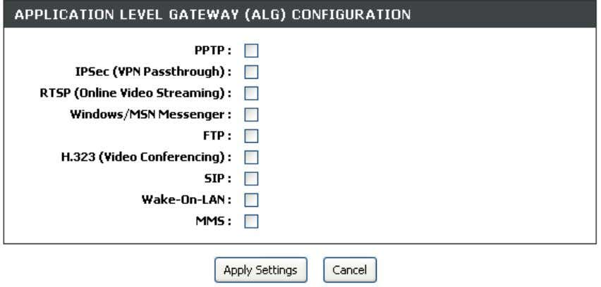 ALG options as required. Click on the Apply Settings button to apply settings . D-Link DSL-2740B