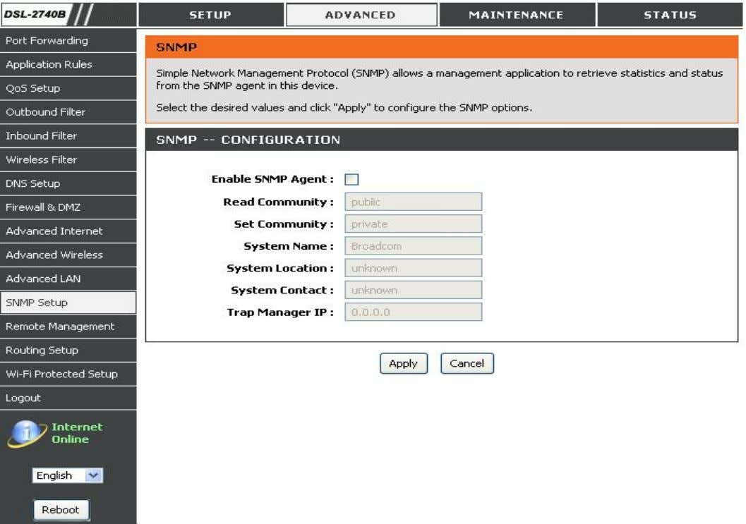 Click the check box to Enable SNMP Agent. Enter all data provided by your ISP. D-Link