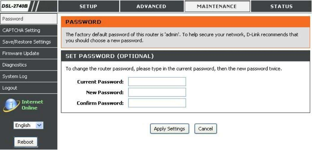 enter the old/new password. Click on the Apply Settings button to apply settings. D-Link DSL-2740B User