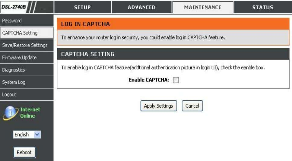 check box to enable this feature. Click Apply Settings button to apply your setting. D-Link DSL-2740B