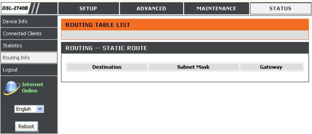 It shows the static routing table which include destination, subnet mask and gateway. D-Link DSL-2740B User