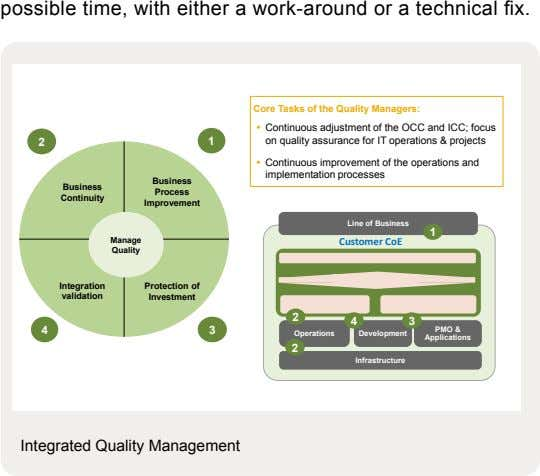 possible time, with either a work-around or a technical fix. Core Tasks of the Quality