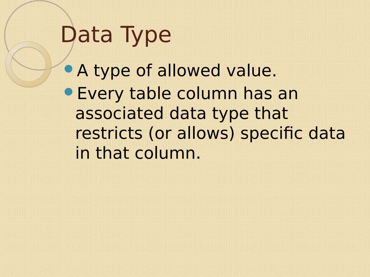 Data Type  A type of allowed value.  Every table column has an associated data