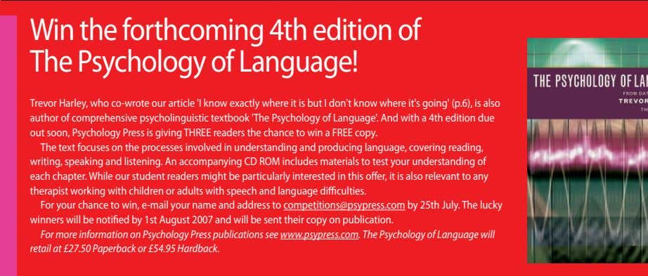 £ Win the forthcoming 4th edition of The Psychology of Language! Trevor Harley, who co-wrote our