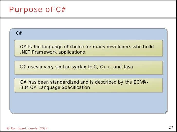 Purpose of C# C# C# is the language of choice for many developers who build