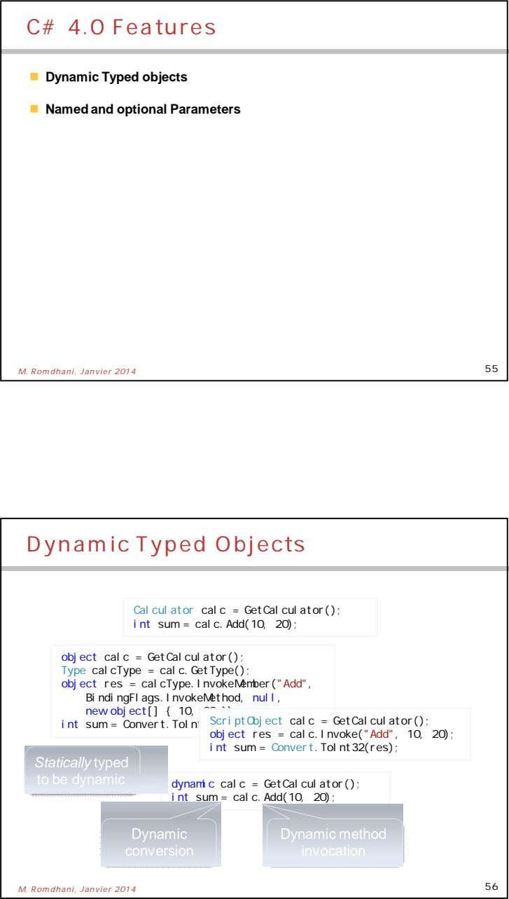 C# 4.0 Features  Dynamic Typed objects  Named and optional Parameters 55 M. Romdhani,