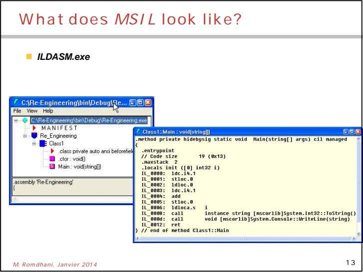 What does MSIL look like?  ILDASM.exe 13 M. Romdhani, Janvier 2014