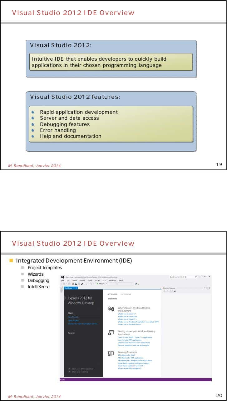 Visual Studio 2012 IDE Overview Visual Studio 2012: Intuitive IDE that enables developers to quickly