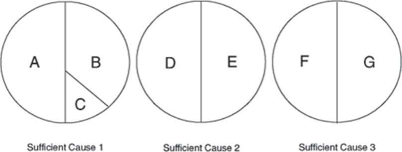 Theoretically, there is more than one sufficient cause. Figure 1.2 Causal pie model. A, B, C,
