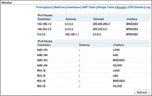 . Routes Lists all the entries in the system routing table. airOS examines the destination IP